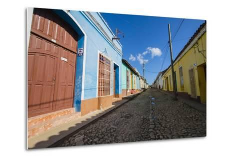 Cuba. Casa Particulares Line the Street, Shown by their Particular Logo Above the Street Number-Inger Hogstrom-Metal Print