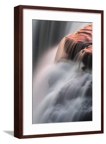 Canada, Ontario. Detail of Sunset Reflections on Kakabeka Falls-Judith Zimmerman-Framed Art Print