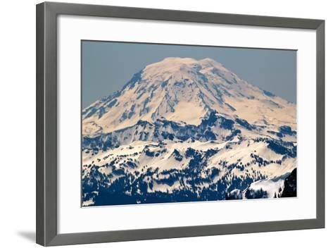 Snowy Mount Saint Adams Mountain Glacier from Crystal Mountain-William Perry-Framed Art Print