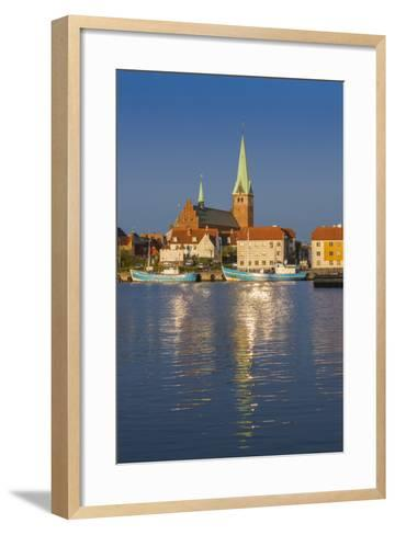Denmark, Zealand, Helsingor, Town View and Sankt Olai Domkirke Church, Dawn-Walter Bibikow-Framed Art Print