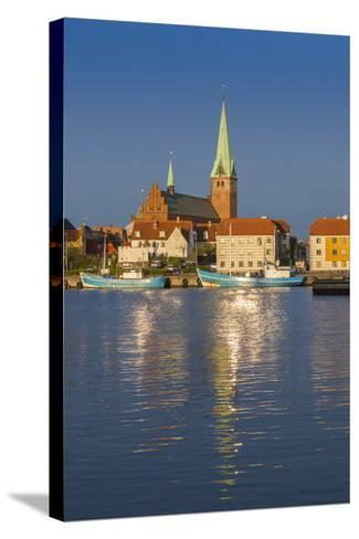 Denmark, Zealand, Helsingor, Town View and Sankt Olai Domkirke Church, Dawn-Walter Bibikow-Stretched Canvas Print