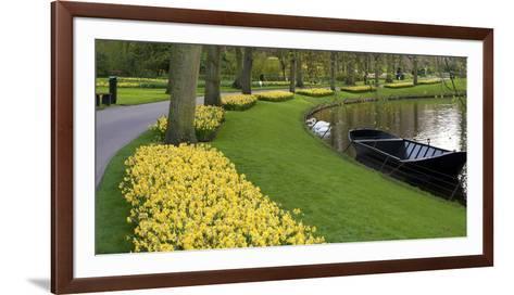 Boat on Keukenhof Gardens Lake in Early Spring-Anna Miller-Framed Art Print