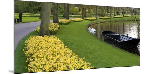 Boat on Keukenhof Gardens Lake in Early Spring-Anna Miller-Mounted Photographic Print