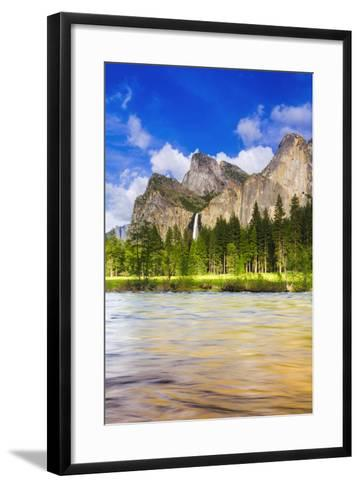 Bridalveil Fall and the Leaning Tower, California, Usa-Russ Bishop-Framed Art Print