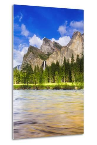 Bridalveil Fall and the Leaning Tower, California, Usa-Russ Bishop-Metal Print