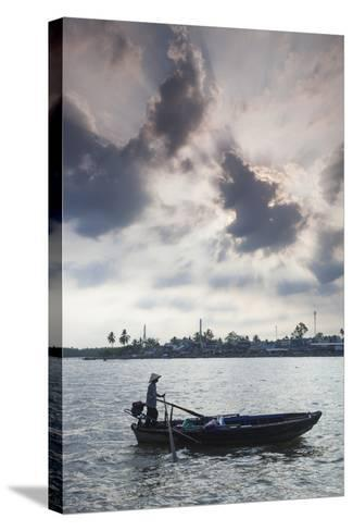 Vietnam, Mekong Delta. Can Tho, Riverside Port Area, Can Tho River-Walter Bibikow-Stretched Canvas Print