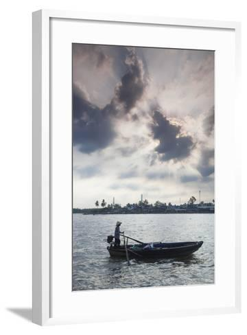 Vietnam, Mekong Delta. Can Tho, Riverside Port Area, Can Tho River-Walter Bibikow-Framed Art Print