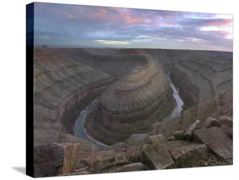 Sunset at Goosenecks of the San Juan River, Utah-Tim Fitzharris-Stretched Canvas Print