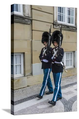 Royal Life Guards in Amalienborg, Winter Home of the Danish Royal Family, Copenhagen, Denmark-Michael Runkel-Stretched Canvas Print