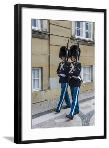 Royal Life Guards in Amalienborg, Winter Home of the Danish Royal Family, Copenhagen, Denmark-Michael Runkel-Framed Art Print