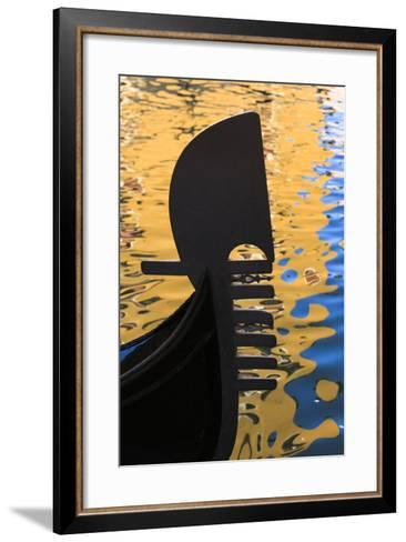 Italy, Venice. a Silhouette of a Gondola Against Colorful Water Reflections-Brenda Tharp-Framed Art Print