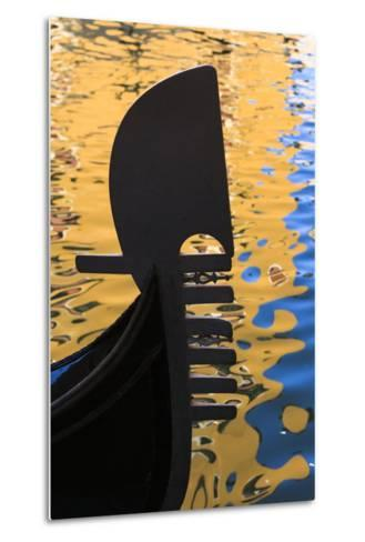 Italy, Venice. a Silhouette of a Gondola Against Colorful Water Reflections-Brenda Tharp-Metal Print