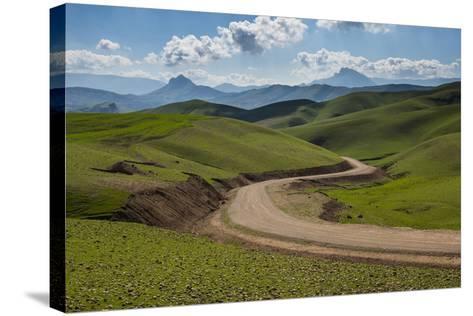 Road Leading Through Green Scenery around Darbandikhan Artificial Lake on Border of Iran, Kurdistan-Michael Runkel-Stretched Canvas Print