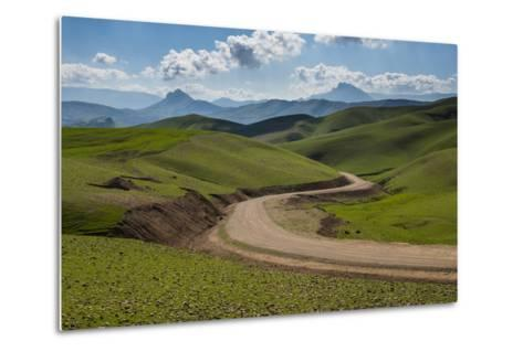 Road Leading Through Green Scenery around Darbandikhan Artificial Lake on Border of Iran, Kurdistan-Michael Runkel-Metal Print