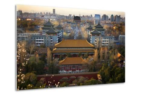 Jinshang Park Looking North at Drum Tower, Beijing, China, Overview-William Perry-Metal Print