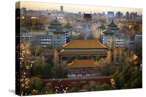 Jinshang Park Looking North at Drum Tower, Beijing, China, Overview-William Perry-Stretched Canvas Print