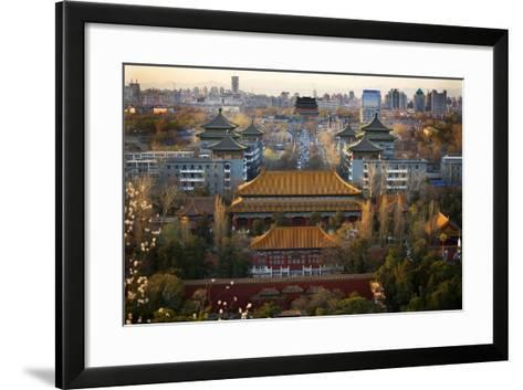 Jinshang Park Looking North at Drum Tower, Beijing, China, Overview-William Perry-Framed Art Print