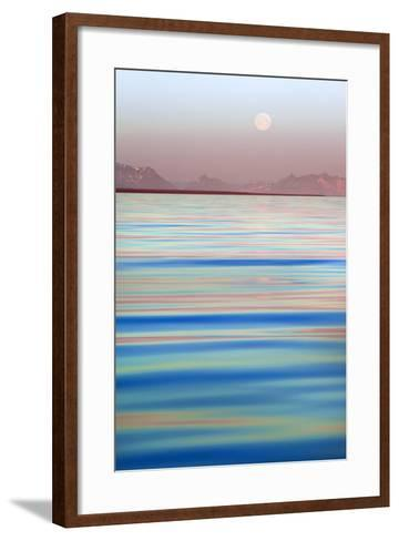 Arctic, Svalbard, Longsfjorden. Moonrise at Midnight-David Slater-Framed Art Print