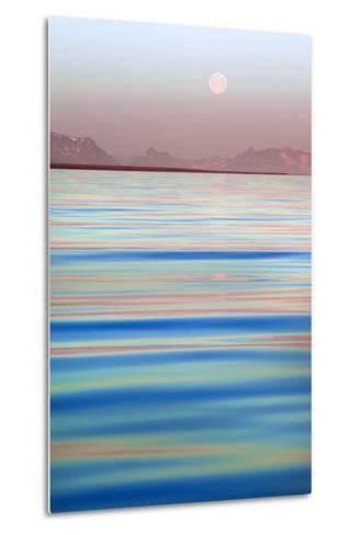 Arctic, Svalbard, Longsfjorden. Moonrise at Midnight-David Slater-Metal Print
