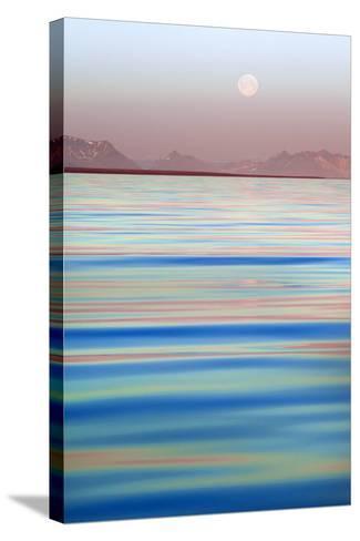 Arctic, Svalbard, Longsfjorden. Moonrise at Midnight-David Slater-Stretched Canvas Print