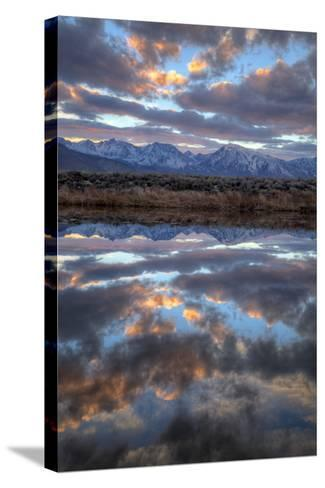 California, Owens Valley. Sierra Crest Seen from Buckley Ponds at Sunset-Jaynes Gallery-Stretched Canvas Print