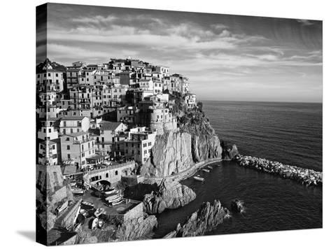 Europe, Italy, Manarola. B&W of Hillside Town Overlooking Ocean-Jaynes Gallery-Stretched Canvas Print