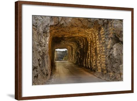 Tunnel on Iron Mountain Road Lit by Setting Sun, Mount Rushmore, South Dakota-Chuck Haney-Framed Art Print