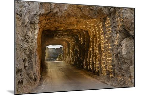 Tunnel on Iron Mountain Road Lit by Setting Sun, Mount Rushmore, South Dakota-Chuck Haney-Mounted Photographic Print