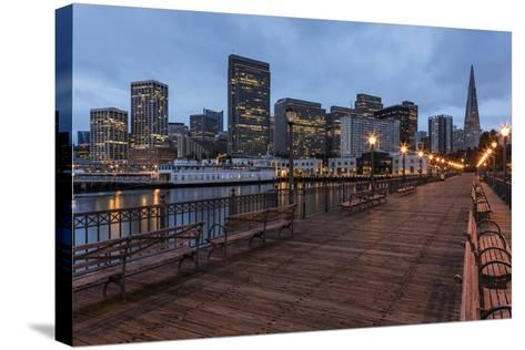 Looking to the Skyline from Pier on the Embarcadero in San Francisco, California, Usa-Chuck Haney-Stretched Canvas Print