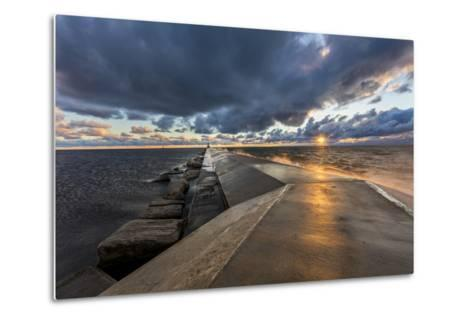 Sunset on the Pier to the Ludington Lighthouse in Lake Michigan in Ludington, Michigan, Usa-Chuck Haney-Metal Print