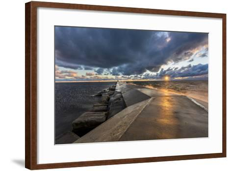 Sunset on the Pier to the Ludington Lighthouse in Lake Michigan in Ludington, Michigan, Usa-Chuck Haney-Framed Art Print