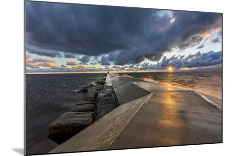 Sunset on the Pier to the Ludington Lighthouse in Lake Michigan in Ludington, Michigan, Usa-Chuck Haney-Mounted Photographic Print