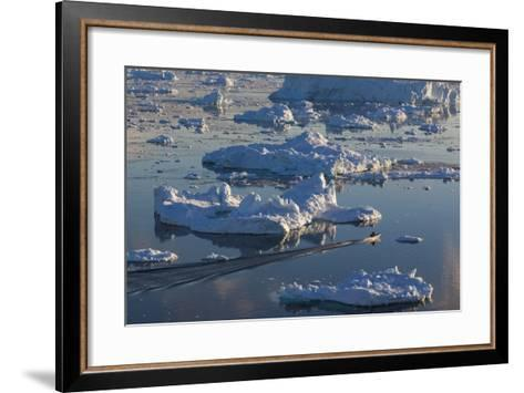 Greenland, Disko Bay, Ilulissat, Elevated View of Floating Ice and Fishing Boat-Walter Bibikow-Framed Art Print
