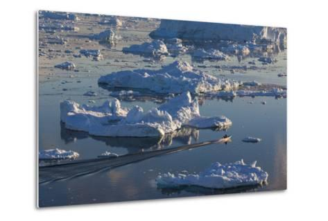 Greenland, Disko Bay, Ilulissat, Elevated View of Floating Ice and Fishing Boat-Walter Bibikow-Metal Print