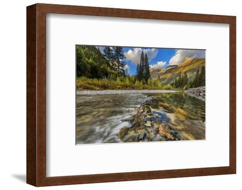 Mcdonald Creek with the Garden Wall in Glacier National Park, Montana, Usa-Chuck Haney-Framed Art Print