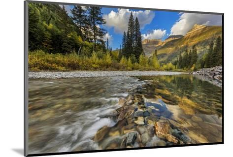 Mcdonald Creek with the Garden Wall in Glacier National Park, Montana, Usa-Chuck Haney-Mounted Photographic Print