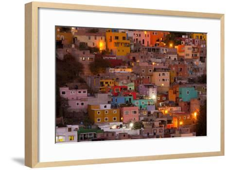 Mexico, Guanajuato. the Colorful Homes and Buildings of Guanajuato at Night-Judith Zimmerman-Framed Art Print