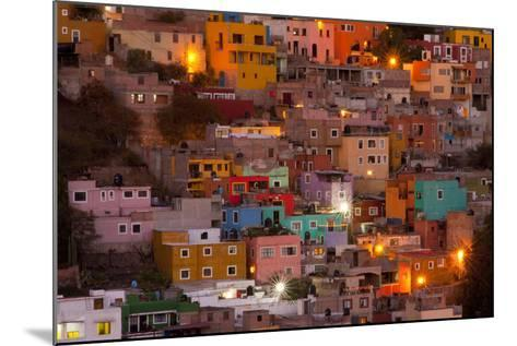 Mexico, Guanajuato. the Colorful Homes and Buildings of Guanajuato at Night-Judith Zimmerman-Mounted Photographic Print
