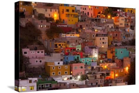 Mexico, Guanajuato. the Colorful Homes and Buildings of Guanajuato at Night-Judith Zimmerman-Stretched Canvas Print
