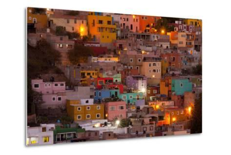 Mexico, Guanajuato. the Colorful Homes and Buildings of Guanajuato at Night-Judith Zimmerman-Metal Print