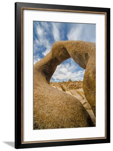 California, Alabama Hills Recreation Area. Mobius Arch with Clouds-Judith Zimmerman-Framed Art Print