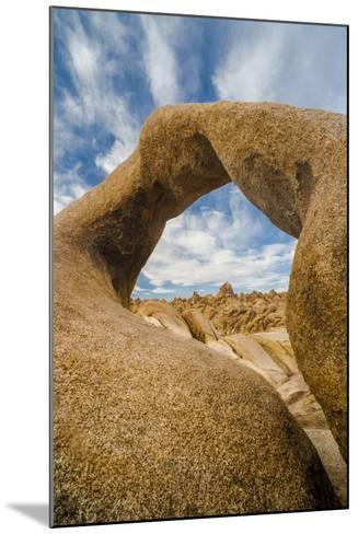 California, Alabama Hills Recreation Area. Mobius Arch with Clouds-Judith Zimmerman-Mounted Photographic Print