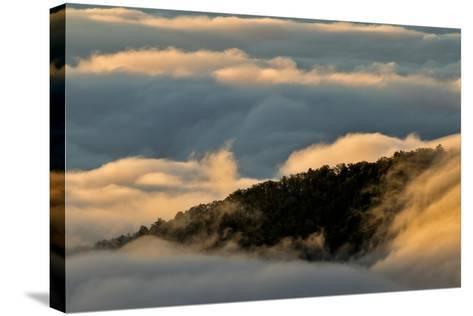 Sunrise and Mountain Mist, North Carolina-Adam Jones-Stretched Canvas Print