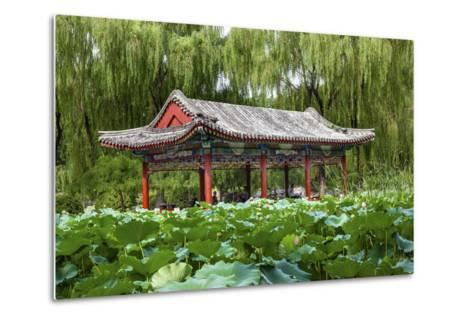 Red Pavilion Lotus Pads Garden Temple of Sun City Park, Beijing, China Willow Green Trees-William Perry-Metal Print