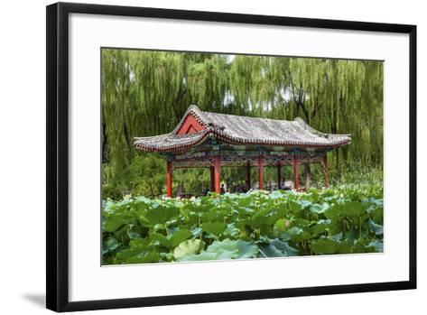 Red Pavilion Lotus Pads Garden Temple of Sun City Park, Beijing, China Willow Green Trees-William Perry-Framed Art Print