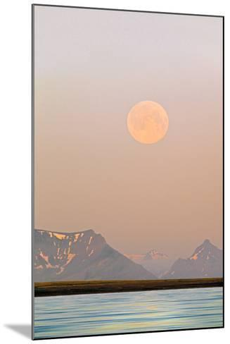 Arctic, Svalbard, Longsfjorden. Moonrise Rises Through Dust at Midnight-David Slater-Mounted Photographic Print