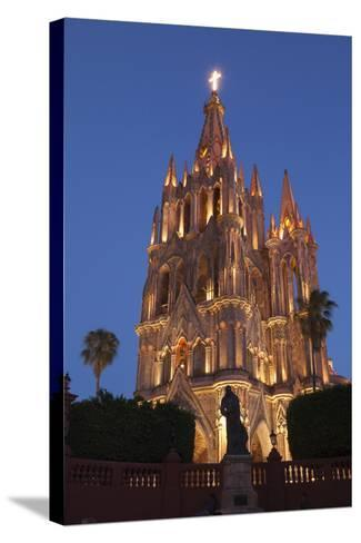 Mexico, San Miguel De Allende. Cathedral of San Miguel Archangel Lit Up at Night-Brenda Tharp-Stretched Canvas Print