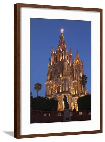 Mexico, San Miguel De Allende. Cathedral of San Miguel Archangel Lit Up at Night-Brenda Tharp-Framed Art Print
