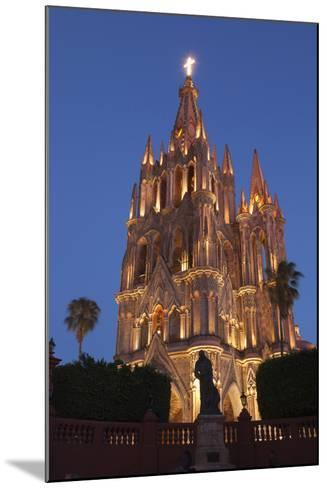 Mexico, San Miguel De Allende. Cathedral of San Miguel Archangel Lit Up at Night-Brenda Tharp-Mounted Photographic Print