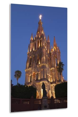 Mexico, San Miguel De Allende. Cathedral of San Miguel Archangel Lit Up at Night-Brenda Tharp-Metal Print